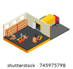 loading or unloading a truck in ... | Shutterstock .eps vector #745975798