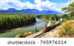 train passing famous morant's... | Shutterstock . vector #745976314