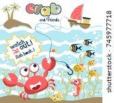 marine life cartoon vector | Shutterstock .eps vector #745977718