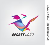 colorful dynamic sport logo and ... | Shutterstock .eps vector #745977994