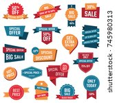 discount icons set  sale... | Shutterstock .eps vector #745980313