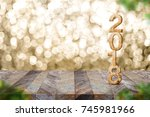 happy new year 2018 on wood...   Shutterstock . vector #745981966