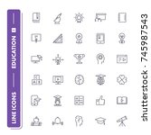 line icons set. education pack ...