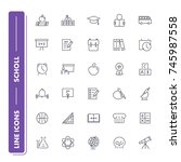 line icons set. school pack....