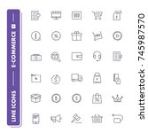line icons set. e commerce 1... | Shutterstock .eps vector #745987570