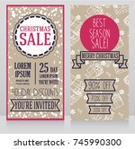 two banners for christmas... | Shutterstock .eps vector #745990300