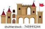 castle towers on white... | Shutterstock .eps vector #745995244
