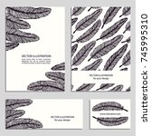 hand drawn doodle feathers.... | Shutterstock .eps vector #745995310