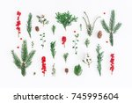 christmas composition. pattern... | Shutterstock . vector #745995604