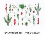 christmas composition. pattern... | Shutterstock . vector #745995604