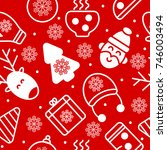 seamless red pattern christmas. ... | Shutterstock .eps vector #746003494