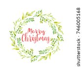 merry christmas word with... | Shutterstock . vector #746005168