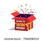 prize box opening and exploding ... | Shutterstock .eps vector #746008414