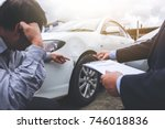 man agent filling insurance... | Shutterstock . vector #746018836