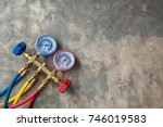 manometers measuring equipment... | Shutterstock . vector #746019583
