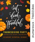 happy thanksgiving holiday... | Shutterstock .eps vector #746021866