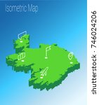 map ireland isometric concept.... | Shutterstock .eps vector #746024206