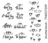i love you. vector set of hand... | Shutterstock .eps vector #746027209