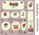 set of different cards with... | Shutterstock .eps vector #746028496