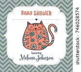 baby shower card template with... | Shutterstock .eps vector #746028574