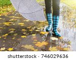 rubber boots with umbrella in... | Shutterstock . vector #746029636