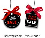 black friday sale tag with red... | Shutterstock .eps vector #746032054