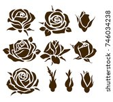 set of decorative roses and... | Shutterstock .eps vector #746034238