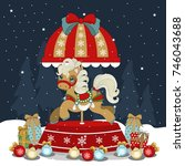 christmas pony on a winter... | Shutterstock .eps vector #746043688