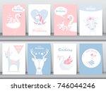 set of birthday invitations... | Shutterstock .eps vector #746044246