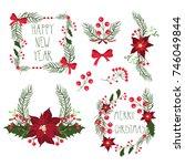 floral frames for christmas... | Shutterstock . vector #746049844