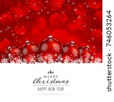 stylish red merry christmas... | Shutterstock .eps vector #746053264