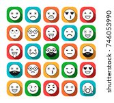 colored flat icons of emoticons.... | Shutterstock .eps vector #746053990