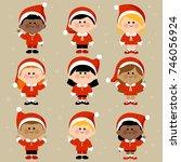 diverse group of children... | Shutterstock . vector #746056924