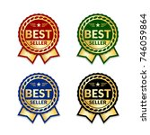 ribbons award best seller set.... | Shutterstock .eps vector #746059864