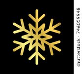 gold christmas snowflake icon.... | Shutterstock .eps vector #746059948