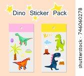 dino sticker pack vector... | Shutterstock .eps vector #746060278