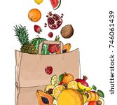 fruit in a paper bag. purchases.... | Shutterstock .eps vector #746061439