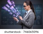 businesswoman with mobile in... | Shutterstock . vector #746065096