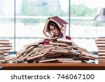 young woman student preparing... | Shutterstock . vector #746067100