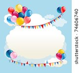 festive background with balloons | Shutterstock .eps vector #74606740