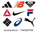 Small photo of Kiev, Ukraine - October 27, 2017: Set of popular sportswear manufactures logos printed on paper: Adidas, New Balance, Roxy, Reebok, Nike, Fila, Columbia, Asics and Puma.