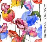 wildflower poppy flower pattern ... | Shutterstock . vector #746072779