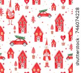 watercolor christmas pattern ... | Shutterstock . vector #746074228