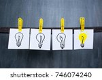 great idea concept  light bulbs ... | Shutterstock . vector #746074240