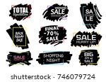 set of universal grunge black... | Shutterstock .eps vector #746079724