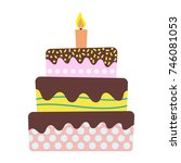 sweet birthday cake with... | Shutterstock .eps vector #746081053