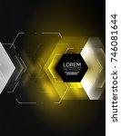 digital techno abstract... | Shutterstock .eps vector #746081644