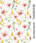 watercolor tropical pattern... | Shutterstock . vector #746083438