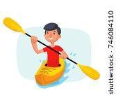 kayaking man vector. rafting....   Shutterstock .eps vector #746084110