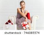 portrait of attractive cheerful ... | Shutterstock . vector #746085574